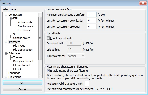 ftp software setting